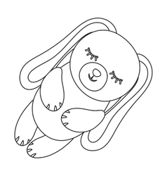 Toy rabbit icon in outline style isolated on white vector