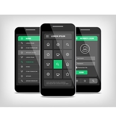 visualization of green ui design vector image vector image