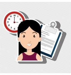 woman with paper isolated icon design vector image