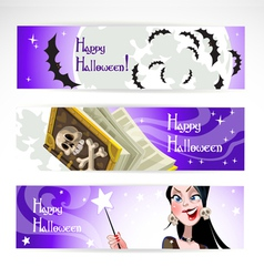 Happy halloween horizontal banner vector