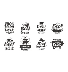 set of meat labels badges and icons vector image