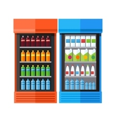 Two showcases refrigerators drinks vector