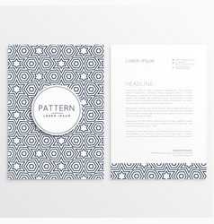 Front and back letterhead design with pattern vector