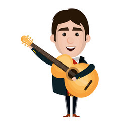 mexican mariachi with guitar avatar character vector image