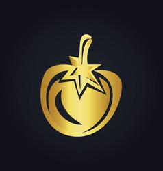Tomato fruit vegetable gold logo vector