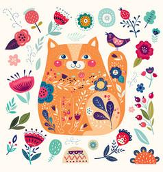 Cat in flowers vector