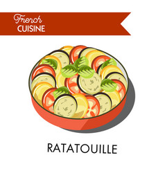 Delicious ratatouille meal from french cuisine vector