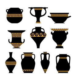 Antique ceramics silhouettes vector