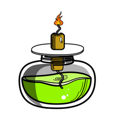 Color sketch of spirit lamp chemical burner vector