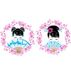 Sakura wreath with a portrait of asian girl vector