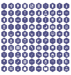 100 pharmacy icons hexagon purple vector