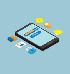 Smartphone loading application isometric vector