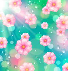 Background with pink spring flowers vector