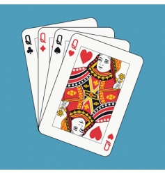 queens poker vector image