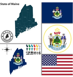 Map of maine with seal vector