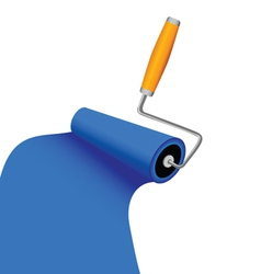 Paint roller with blue trace vector