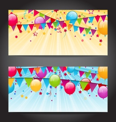 Abstract banners with colorful balloons hanging vector