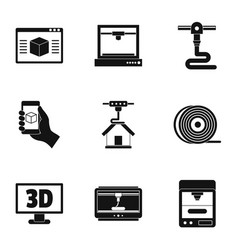 3d computer printer icon set simple style vector