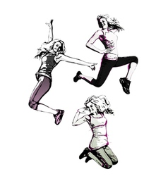 Jumping women vector