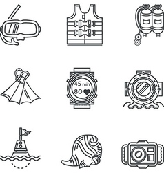 Diving black line icons vector