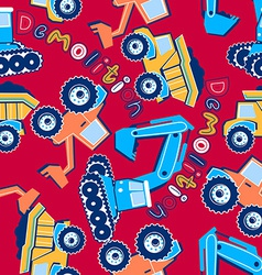 Demolition vehicles seamless pattern vector