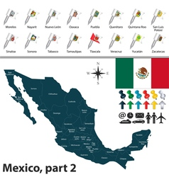Mexico map with flags part 02 vector