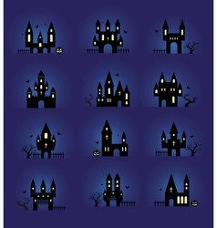 Halloween silhouettes set vector