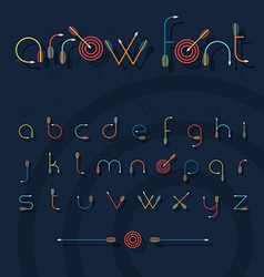 Font alphabet shaped like archery arrows vector