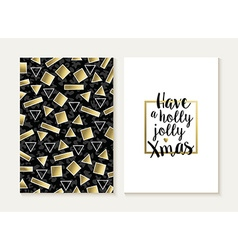 Merry christmas card set retro gold 80s pattern vector