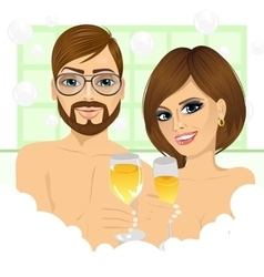 Couple making toast with champagne in bathtub vector