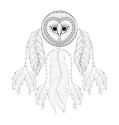 Hand drawn zentangle dreamcatcher with tribal owl vector