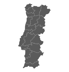 Map of portugal with regions vector