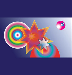 Abstract colored stars and colored balls vector