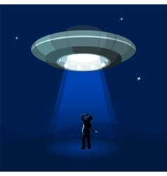 Aliens spaceship abducts the man under cloud of vector