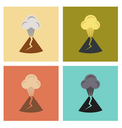 Assembly flat icons nature volcano erupting vector