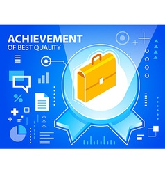 bright emblem and work suitcase on blue back vector image