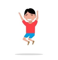 cartoon boy jumping happiness vector image vector image