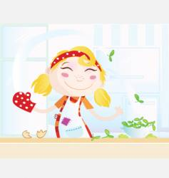 cartoon kitchen girl vector image