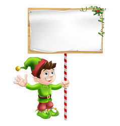 christmas elf with sign vector image