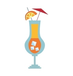 Cocktail beverage umbrella lime ice vector