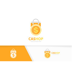 Coin and shop logo combination money and vector