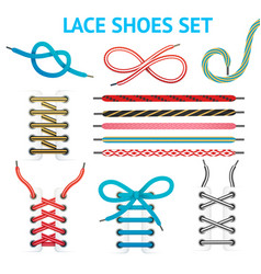 Colorful shoelace icon set vector