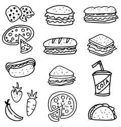 Doodle of food bread pizza and drink vector image vector image