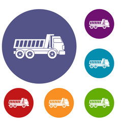 Dumper truck icons set vector