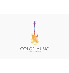 Guitar Colorful logo Rainbow guitar music logo vector image
