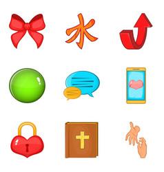Handout icons set cartoon style vector