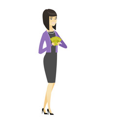 happy asian business woman holding money vector image vector image