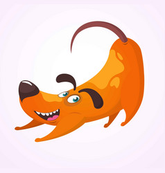 happy cartoon dog having fun and doing yoga vector image
