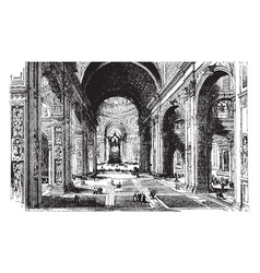 Interior of st peters basilica vintage vector