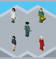 Isometric people set of plumber female officer vector